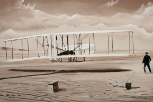 The First to Fly The Wright brothers historic first powered flight on December 17, 1903 at Kitty Hawk North Carolina. Wilbur won the coin toss for the first trial but does a belly flop and loses his turn to Orville. After take- off he flew for 12 seconds and covered 120 feet.