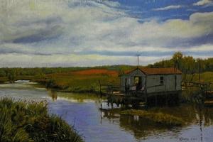Lone Shanty Oil on wood panel 12x18