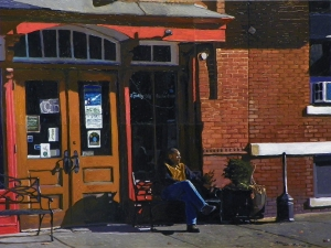 Waiting at the Spotty Dog oil 18x24