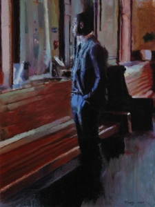 Waiting at the Train Station 24x18 Oil on Canvas $1,300.00